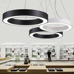 Wholesale Circle Chandelier Light - Modern Office LED Circle Pendant Lights Round Suspension Hanging Pendant Lamp Ring Chandelier