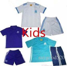 Wholesale Kids Catsuit - 2017 2018 Olympique de Marseille Kids Soccer Jersey home white Away Blue BATSHUAYI LASS Marseille 2017 survetement football maillot de foot