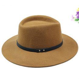 Wholesale Pure Jazz - European Classic Red Black Jazz Hat Pure Australian Wool Felt Pillbox Belt Fedora Top Hat Large Brim Winter Autumn Women Men Hat