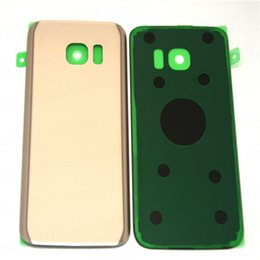 Wholesale Door Glass Sticker - Original Battery Door Back Housing Cover Glass Cover For Samsung Galaxy S7 G930f S7 Edge G935f with Adhesive Sticker