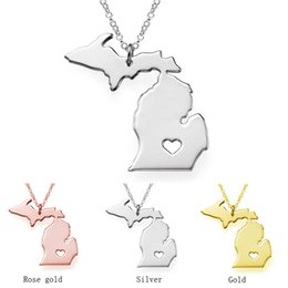 Wholesale Stainless Steel Personalized Necklace - Michigan State &Maine State 18K Rose Gold Necklace, Personalized Charming Necklace With A Heart 3 colors necklaces State Charm map jewelry