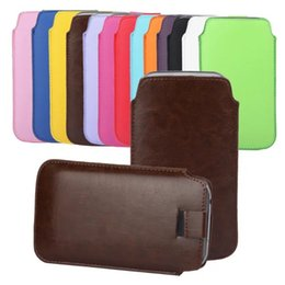 Wholesale Galaxy Tab Plus Leather - 6Sizes Universal Slim Pull Tab PU Leather Case Pouch For Iphone 6 6S Plus 5 5S SE 5C Galaxy S7 Edge S6 Plus Note3 S4 S5 S3 Rope Skin Pouch