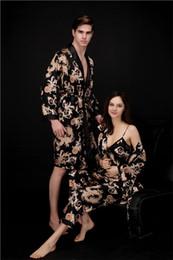 Wholesale Black Terry Robe - Nukawa Women's SEXY Kimono Long Robe - Chrysanthe mum & Crane chemise Bathrobe Terry Velour Robe Plus Size Sleepwear