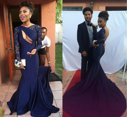 Wholesale Naked Sheer Dresses - 2016 Sexy Naked Front Open Back Navy Black Girls Mermaid Prom Dresses with Bateau Neck Sheer Lace Long Sleeves Chapel Train Pageant Gowns