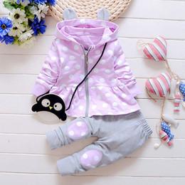Wholesale Penguin Suits - Autumn kids clothes girl long sleeve polka-dot hoodies+skirt pant set 2 pieces children lovely penguin clothes suit