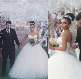 Wholesale Wedding Dresses Sweetheart Neckline Princess - Ball Gown Wedding Gowns Luxury Pearls 2017 Sweetheart Neckline Puffy Tulle Country Garden Sexy Bridal Dress Plus Size Beaded Wedding Dresses