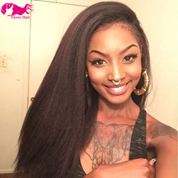 Wholesale light yaki full lace wigs - Grade 7A+ Kinky Straight Coarse Yaki 1#,1b#,2#,4# and Natural Color Lace Front Wig Brazilian Virgin Hair Full Lace wig 130% density