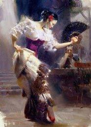 Pintura a óleo menina dançando on-line-Pintura a óleo impressa pintado à mão pura genuína da arte na lona para a decoração home, dança bonita da menina
