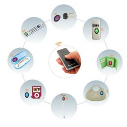 Wholesale Wireless Alarm Transmitters - Wireless RF Item Locator Anti Lost Key Finder Alarm with Base Support and LED Flashlight Remote Control 1 RF Transmitter and 4 Receivers