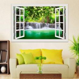Wholesale traditional chinese gift boxes - 3D Window View Wall Sticker Decal Sticker Home Decor Living Room Nature Landscape Decal Waterfall Mural Wallpaper Wall Art
