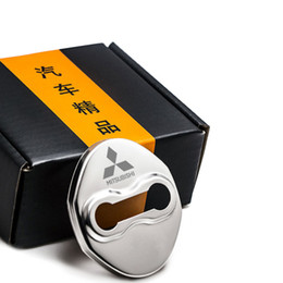 Wholesale Pajero Door - 4pcs set Stainless Steel Car Door Lock Cover Car Lock Protector Sticker For Mitsubishi Lancer EX FORTIS Gerand ASX Pajero sport Outlander