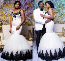 Wholesale Wedding Dresses Tank Straps - African Trumpet White Long Wedding Dresses With Black Appliques Lace Tank Sheer Scoop Neck Mermaid Bridal Gowns Custom Made Marriage Dress