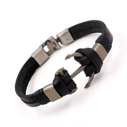 Wholesale Punk Studded Bracelet - Fashion Design Leather Bracelets Bangles Unisex Punk Wristband Metal Anchor Studded Charm bracelets Cuff bracelets For Men Women Gifts