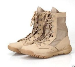 Wholesale Heeled Military Boots - Military Tactical Police Army Boots 2017 SAND AND BLACK Men's boot Fashion size 36---46 Free shipping