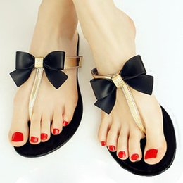 Wholesale Bow Ties Womens - Wholesale-SAF-Womens Ladies Toe Bow Diamante Jelly Summer Flat Flip Flop Thong Sandals