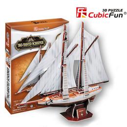Wholesale Toy Military Boats - Cubicfun Cubicfun 3D Puzzle Toy DIY Paper Model Double Mast Sail Model Ship Boy Boat Model T4007h Model Assembling Educational Toys