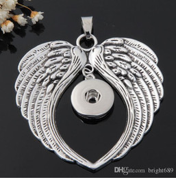 Wholesale White China Buttons - Wholesale-G00106 new brand angel wing snap button jewelry pendant for 18mm button