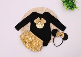 Wholesale Newborn Wears - 2016 New Minnie Infant Clothing Set Newborn Baby Bodysuits+Gold Shorts+Hair hoop Christmas Wear Toddlers Clothing 7670