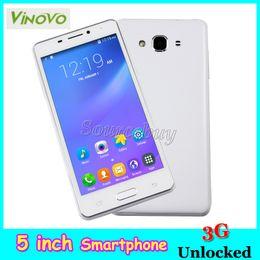 Wholesale 3g Android Dual Sim Smartphones - ViNOVO R4 MTK6572 Dual Core Android 4.4 Dual SIM 3G Unlocked 5 inch Smartphones Smart-wake 512MB 4GB Mobile phones GPS Wifi Bluetooth