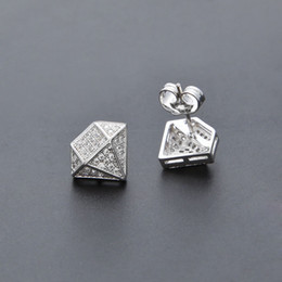 Wholesale Vintage Pave - Hip Hop Diamond Shape Earrings Iced Out Micro Pave Bling Stud Earrings For Men Fashion Vintage Gold Silver Plated Hip Hop Jewelry