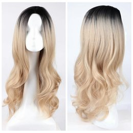 Wholesale women fashion synthetic hair wigs - Z&F Hot Long Wavy Synthetic Wigs Fashion Hair Wigs Charming Curly Ombre Black to Blonde Color Wigs for Women