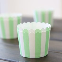 Wholesale Muffin Case Green - Free Shipping green stripe cupcake cases cups liners, wedding party birthday decorating baking muffin cake cups