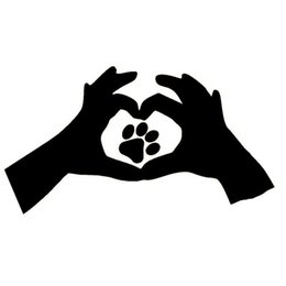 Wholesale Red Paw Print - Wholesale 20pcs lot Home Decorations Automobile and Motorcycle Vinyl Decal Car Glass window Stickers Jdm Love Paw Print Cat Dog Pet