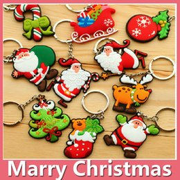 Wholesale Indoor Christmas Tree Lights - Hot Christmas Gift Xmas Tree Ornament Decoration Party Holiday Christmas Gift Santa Key Chain Key Ring DHL Free 161014