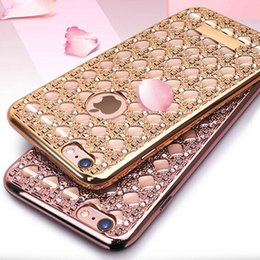 Wholesale Silicon Diamonds - New Cheap Luxury Diamond Plating Electroplating TPU Soft Silicon grid Phone Case For iPhone 5s 6s 6s plus for samsung s7 s7edge s6 DHL