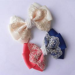Wholesale Grosgrain Ribbon Blue Solid - wholesale handmade grosgrain ribbon hair bow with pearls, hair bow clip, ribbon bow, wholesale ribbon bow