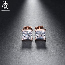 Wholesale Diamonds 1ct - Silver 18K Rose Gold Plated 1ct Cushion Cut CZ Diamond Nickel Free Large Stud Earrings Wholesale for Women OE148
