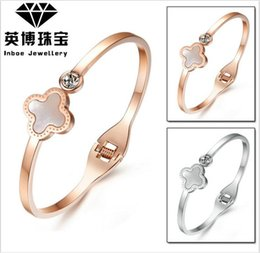 Wholesale Rose Gold Clover Bracelet - New Inbev titanium steel bracelet shells lucky clover stainless steel bracelet rose gold bracelet female   810088