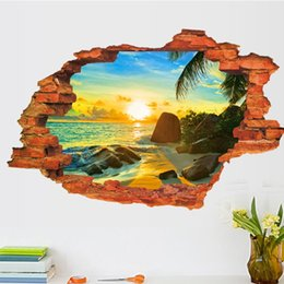 Wholesale Wall Adornment - 3D Broken Wall Decal Sunset Scenery Seascape Island Coconut Trees Household Adornment Can Remove The Wall Stickers