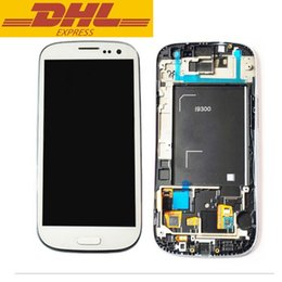 Wholesale Galaxy S3 Lcd Digitizer Replacement - For Samsung Galaxy S3 LCD Screen Display Touch Screen Digitizer Replacement Parts Assembly +Frame For Samsung I9300 gt-9300 SIII