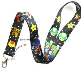 Wholesale Mario Cell Phone Charms - Wholesale-Free shipping 10 Pcs  Wholesale lots Super Mario Necklace Strap Lanyards Cell Phone PDA Key ID Strap Charms L083