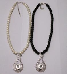 Collar de música colgantes online-Moda Perla de Cristal Noosa Chunks Metal Ginger Rhinestone Music Note 18mm Botón a Presión Collar Colgante de Joyería