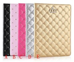 Wholesale Ipad2 Screen Cover - For ipad case iPad mini cases ipad2 3 4 Phone pouch Rhinestone Crown rivet Smart Cover with stand shockproof Dormancy pc pu leather