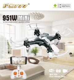 Mini transmisor de cámara online-FQ777 951W WIFI Mini Pocket Drone FPV 4CH 6-axis girocompás Quadcopter con 30W cámara Smartphone Holder Transmisor F17860 / 61