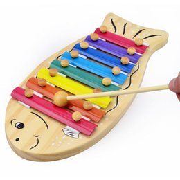 Wholesale Baby Instruments Xylophone - Baby Toys Cartoon Fish 8Scales Xylophone Wooden Toys Musical Instrument Hand Knocking Piano Knocks Xylophone Eduactional Gift