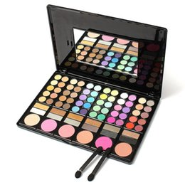 Wholesale Eyeshadow Palette Mirror - Fashion 78 Colors Pro Eyeshadow Palette Makeup Powder Cosmetic Brush Kit Box With Mirror Women Make Up Tools Eye Shadow