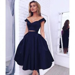 Wholesale Green Dress Two Pockets - Cheap Custom Two Piece Prom Dresses 2016 Sexy Off Shoulder Stunning Navy Blue A Line Satin Evening Party Gowns with Pockets Tea Length