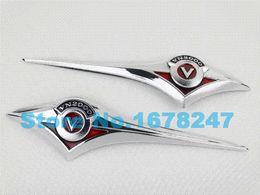 Wholesale Chrome Fairings - Motorcycle Chrome ABS Fuel Gas Tank Badge Emblem Fairing Decal Sticker For Kawasaki Vulcan 1500 1700 2000 VN Series Custom New