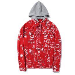 Wholesale Floral Jean Jacket - Mens denim jackets and coats graffiti tactical winter luxury rock coat jacket floral bomber jean jacket men D25