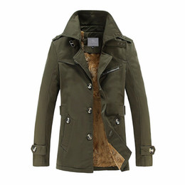 Wholesale Big Buttoned Trench Coat - Man Turn-down Collar Single Breasted Thick Warm Trench Coat Men Fashion Leisure Outerwear Big Size M-5XL