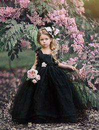 Wholesale Blue Gothic Wedding Dresses - Black Ball Gown Flower Girls Dresses Puffy Tulle Lace Cap Sleeves Open Back 2018 Cheap Girls Pageant Dresses Gothic Kid Wedding Gowns