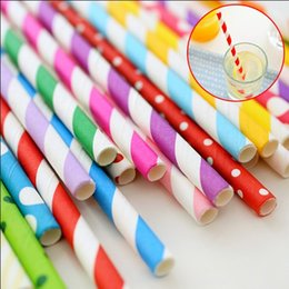 Wholesale Paper Drink Decorations - paper straws drinking straws 250pcs for wedding party decoration Birthday Christmas Halloween Festival Events supplies Party favors