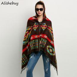 Wholesale Ladies Hooded Cloaks - Women Wool Blend Cape Ladies Hooded Cloak Geometrical Pattern Blanket Poncho Cape Tassels Outwear Asymmetrical Shawl Colorful SV011498