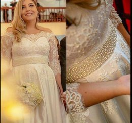 Wholesale Half Pearl Buttons - Pearls Beaded Lace Off Shoulder Wedding Dresses Half Long Sleeve A LINE Bridal Gowns Floor Length Wedding Vestidos Custom Made