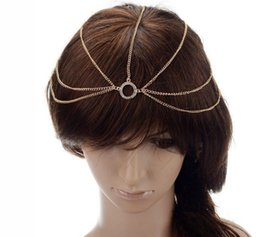 Wholesale Boho Head Chain - Fashion Gold Plated Head Chain Hair Jewelry Rhinestone Circle Forehead Hair Accesories Boho Headband Lots 10 pcs
