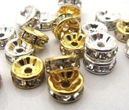 Wholesale Gold Spike Beads Wholesale - 8mm 600 pcs lot Mixed gold and Silver Plated white Clear Crystal Rhinestone Spacer Beads, Jewelry Findings Rondelle Loose Bead fit bracelet.